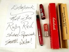 Vintage ESTERBROOK Fountain Pen ~ Ruby Red ~ Mint n box w/stickers 2048 Flexible
