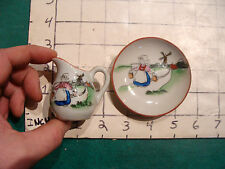 vintage cup & saucer: DUTCH SCENE, Repaired pitcher, made in Japan MINI