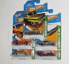 LOT OF 5 HOT WHEELS T-HUNTS 62 CHEVY 69 CHEVELLE 70 CHEVELLE STUDEBAKER TYRRELL