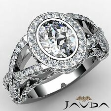 Cross Shank Oval Diamond Engagement Halo Ring GIA I SI1 18k White Gold 2.92ct