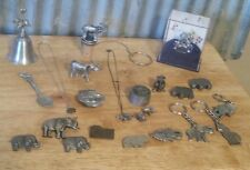 Fine Pewter Lot of 23 Elephants Necklace Money Clip Spoon Bell Pin