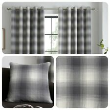 Curtina LINCOLN CHECK Grey Jacquard Curtains and Cushions