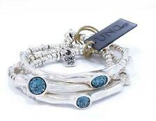 New Uno De 50 Silver Tone Delirium Blue Crystals Wrap Bracelet, Necklace