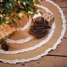 """BURLAP NATURAL & CREME VOILE RUFFLED CHRISTMAS TREE SKIRT 48"""" DIAMETER"""