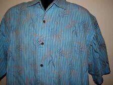 TOMMY BAHAMA Hawaiian Floral Blue S/S Silk Camp Shirt XL Xlarge