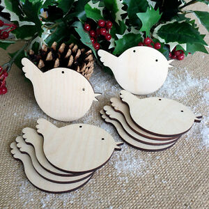 BIRCH WOOD ROBINS Christmas Decorations Tags Art Craft Wooden Blank Shapes x10