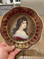 "Antique Royal Vienna Style Portrait Cabinet Plate of Lady Amorosa 8.5"" (21.5cm)"