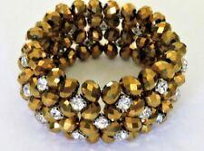 Gold Tone Color Beads Silver Beads & Rhinestone Elastic Stretchable Bracelet
