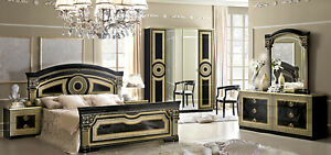 Aida Italian Bedroom Set in Black and Gold Finish - 5 Piece Queen Size