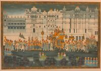 Hand Painted procession Miniature Paint Fine Art Udaipur India Color King Queen