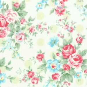 Cottage Chic & Shabby Lecien Princess Rose 31265L-60 w/Lime Polka Dots BTY