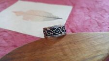 Vintage Ring wide Band Mexico scroll design STERLING silver sz 7.75 5g signed RG