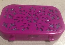 Manicure Set Pink Lavender Plastic Case 4 pcs Magnetic Closure Case Snowflakes