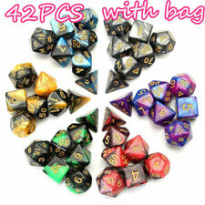 42Pcs/set Shiny Polyhedral Dice DND RPG MTG Role Playing Game + Bag 6 Colors