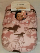 Infant Car Seat Cover Pink Horses Baby n White Fleece Cozy Embroidery Cowgirl