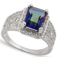 Mystic Topaz Ring with Diamonds Sterling Silver 2.1 carats