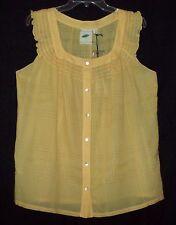 Nurture Solid Yellow Versatile Cotton Smock Tunic w/Ruffled Cap Sleeve-S ($69)