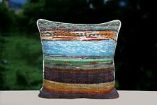 Rag Rug Hand Loomed Pillow Cases 16x16 Recycled Fabric Throw Cushion Cover 2 Pcs