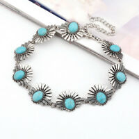 Boho Collar Choker Silver Necklace Jewelry for Women Ethnic Turquoise Beads
