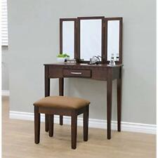 Vanity And Stool Set 2 Piece Espresso Upholstered Bench Three Mirrors Drawer