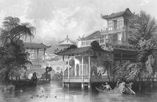 China, GUANGZHOU MANSION VILLA COURTYARD ARCHITECTURE ~ 1842 Art Print Engraving