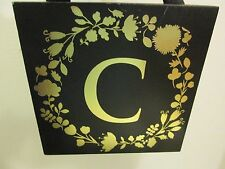 "Initial ""C"" Black and Gold Wood Plaque, NEW"