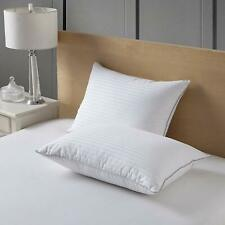 Set of 2 White Goose Down Feather Bed Pillow Damask Striped 100% Cotton 20x28""