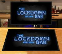 The Lockdown Bar BLUE NEON effect Bar runner Bar mat Pubs, clubs Home bar runner