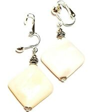 Silver Mother of Pearl Shell Clip On Earrings Antique Vintage Style Heart