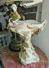 Large Royal Dux Art Nouveau Polychrome Porcelain Figural Centerpiece.