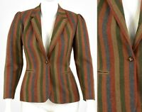 70s Vintage Boho Blazer Puffed Sleeve Womens M Earth Tones Striped Wool 10 1970s