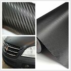 30*127cm Black Auto DIY Film Sheet Vinyl Car Roll Wrap Sticker 3D Carbon Fiber