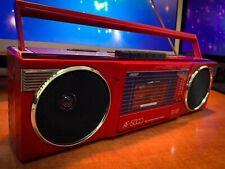 UNISEFF AF-5000 Hot Red 80's Vintage Gheto-Blaster Stereo Cassette Tape Boombox