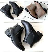 Womens Ladies Chelsea Biker Ankle Boots Western Studded Pull On Flat Shoes Size