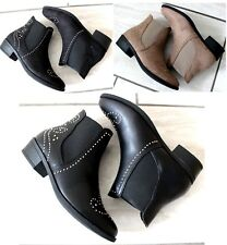 New Womens Ladies Chelsea Biker Ankle Boots Western Studded Pull On Flat Shoes