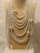 Womens Statement Long Big Large Bead Beaded Faux Pearl Chunky Necklace Wedding