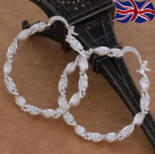 925 Sterling Silver Hoop Earrings Large Twist Design Textured 40mm UK