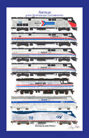 "Amtrak 40th Anniv. Heritage 11""x17"" Poster in 12"" x 18"" mat Andy Fletcher signed"