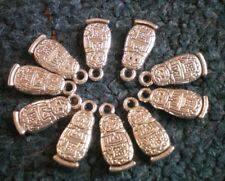 RUSSIAN DOLL BABUSHKA CHARMS X 10 SILVER COLOUR new FAB FOR  CRAFTS