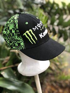 kawasaki monster energy Fitted Hat Motorcycle Motocross Black Neon Green