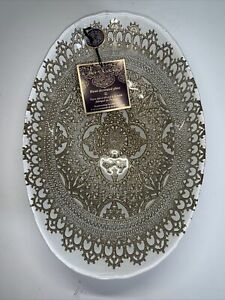 ARTISTIC ACCENTS MadeIn Turkey Hand Decorated Glass Plate  Oval Clear/Gold #G27