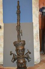 Very Large (130 cm) Mid 20th Century African Benin Bronze Ceremonial Pipe, c1950