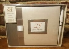 "C.R. Gibson Guest Book w/Pen, 25 YEARS TOGETHER, 500 Names, 9 3/4"" x 7"", NWT"
