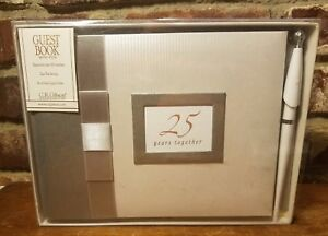 """C.R. Gibson Guest Book w/Pen, 25 YEARS TOGETHER, 500 Names, 9 3/4"""" x 7"""", NWT"""