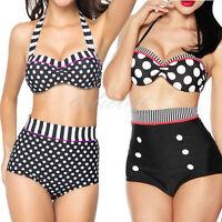 2018 Vintage Womens High Waist Bathing Suit Swimwear Plus Size Bikini Swimsuit