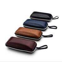 Portable Zipper PU Leather Eye Glasses Sunglasses Shell Hard Case Protector Box