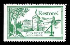 USA Poster Stamp - Old Fort 4 - Charlestown, New Hampshire - Restoration