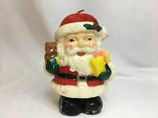 Antique Santa Teddy Bear and Present Candle