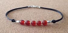 Silver Plated, Charm Friendship Bracelet Red Carnelian Beads, Leather Cord,
