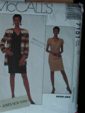 McCall's Sewing Pattern-Misses' LINED CARDIGAN JACKET  & DRESS-Size: 10-UNCUT!